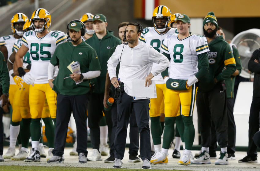SANTA CLARA, CALIFORNIA - NOVEMBER 24: Head coach Matt LaFleur of the Green Bay Packers looks on from the sideline during the game against the San Francisco 49ers at Levi's Stadium on November 24, 2019 in Santa Clara, California. (Photo by Lachlan Cunningham/Getty Images)