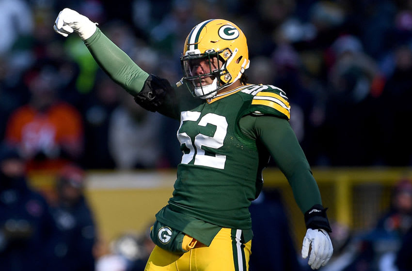 GREEN BAY, WISCONSIN - DECEMBER 15: Linebacker Rashan Gary #52 of the Green Bay Packers reacts to a defensive stop in the game against the Chicago Bears at Lambeau Field on December 15, 2019 in Green Bay, Wisconsin. (Photo by Stacy Revere/Getty Images)