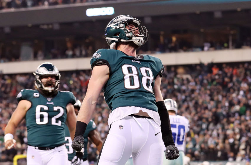 PHILADELPHIA, PENNSYLVANIA - DECEMBER 22: Dallas Goedert #88 of the Philadelphia Eagles celebrates after scoring a touchdown during the first quarter against the Dallas Cowboys in the game at Lincoln Financial Field on December 22, 2019 in Philadelphia, Pennsylvania. (Photo by Mitchell Leff/Getty Images)