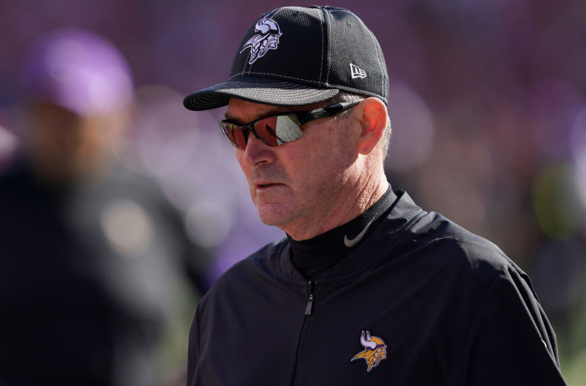 SANTA CLARA, CALIFORNIA - JANUARY 11: Head coach Mike Zimmer of the Minnesota Vikings looks on during warm ups prior to their game against the San Francisco 49ers during the NFC Divisional Round Playoff game at Levi's Stadium on January 11, 2020 in Santa Clara, California. (Photo by Thearon W. Henderson/Getty Images)
