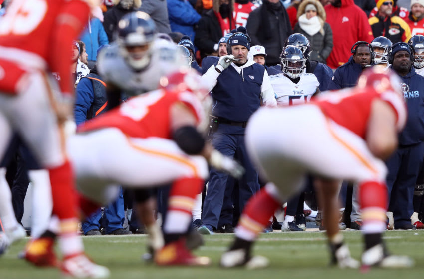 KANSAS CITY, MISSOURI - JANUARY 19: Head coach Mike Vrabel of the Tennessee Titans looks on in the second half against the Kansas City Chiefs in the AFC Championship Game at Arrowhead Stadium on January 19, 2020 in Kansas City, Missouri. (Photo by Jamie Squire/Getty Images)