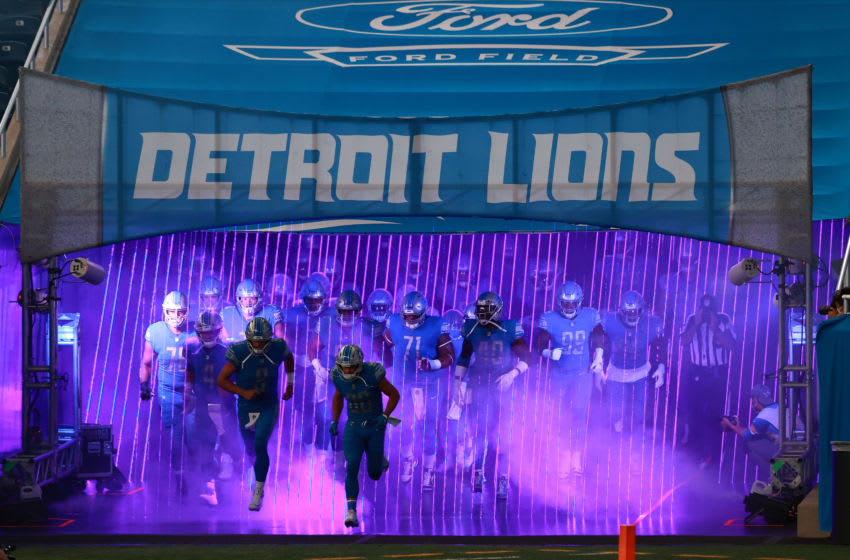 DETROIT, MI - SEPTEMBER 13: Matthew Stafford #9 of the Detroit Lions leads his team on the field prior to a game against the Chicago Bears at Ford Field on September 13, 2020 in Detroit, Michigan. (Photo by Rey Del Rio/Getty Images)