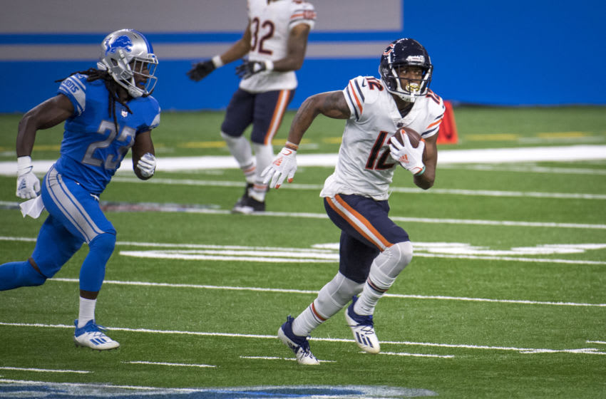 DETROIT, MI - SEPTEMBER 13: Allen Robinson #12 of the Chicago Bears runs the ball during the second quarter against the Detroit Lions at Ford Field on September 13, 2020 in Detroit, Michigan. (Photo by Nic Antaya/Getty Images)