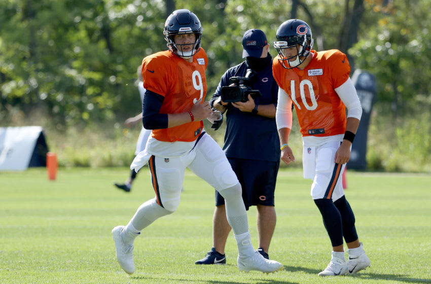 LAKE FOREST, ILLINOIS - SEPTEMBER 02: Nick Foles #9 and Mitchell Trubisky #10 of the Chicago Bears participate in a drill during training camp at Halas Hall on September 02, 2020 in Lake Forest, Illinois. (Photo by Dylan Buell/Getty Images)