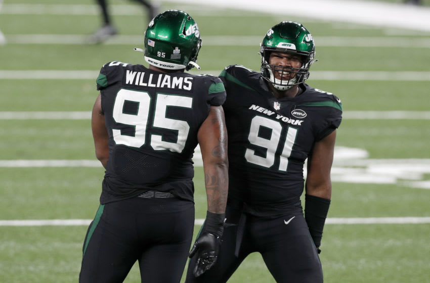 John Franklin-Myers #91 and Quinnen Williams #95 of the New York Jets (Photo by Jim McIsaac/Getty Images)