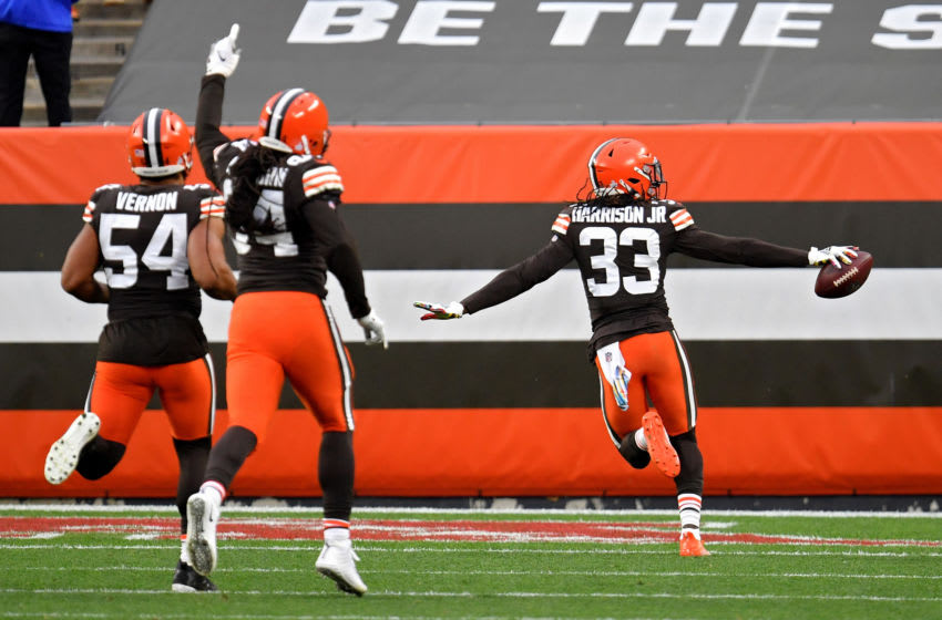 CLEVELAND, OHIO - OCTOBER 11: Ronnie Harrison Jr. #33 of the Cleveland Browns celebrates after scoring a touchdown from an interception in the third quarter against the Indianapolis Colts at FirstEnergy Stadium on October 11, 2020 in Cleveland, Ohio. (Photo by Jason Miller/Getty Images)