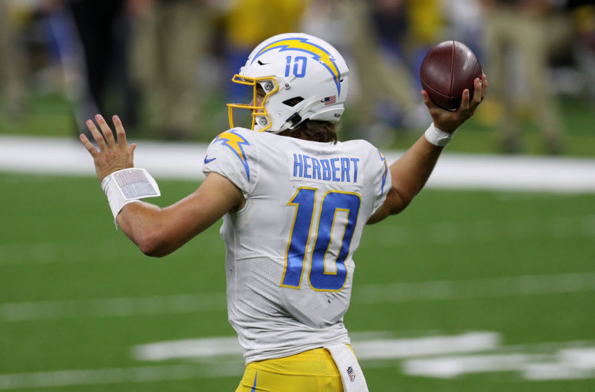 Justin Herbert #10 of the Los Angeles Chargers (Photo by Chris Graythen/Getty Images)