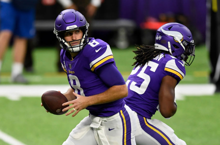 MINNEAPOLIS, MINNESOTA - OCTOBER 18: Kirk Cousins #8 of the Minnesota Vikings drops back to pass in the first quarter against the Atlanta Falcons at U.S. Bank Stadium on October 18, 2020 in Minneapolis, Minnesota. (Photo by Hannah Foslien/Getty Images)