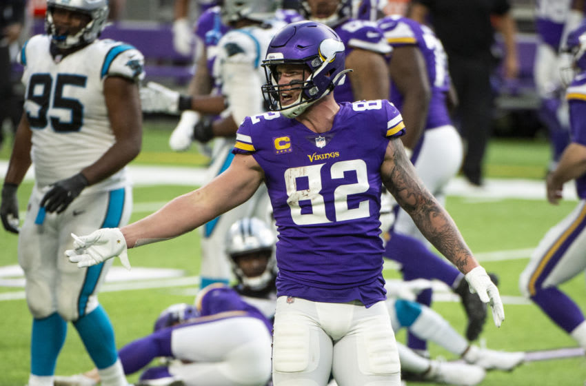 MINNEAPOLIS, MN - NOVEMBER 29: Kyle Rudolph #82 of the Minnesota Vikings reacts after a play in the fourth quarter of the game against the Carolina Panthers at U.S. Bank Stadium on November 29, 2020 in Minneapolis, Minnesota. (Photo by Stephen Maturen/Getty Images)