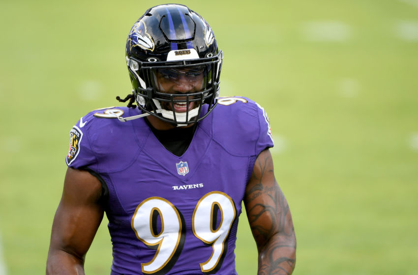 BALTIMORE, MARYLAND - DECEMBER 20: Linebacker Matthew Judon #99 of the Baltimore Ravens looks on prior to the game against the Jacksonville Jaguars at M&T Bank Stadium on December 20, 2020 in Baltimore, Maryland. (Photo by Will Newton/Getty Images)
