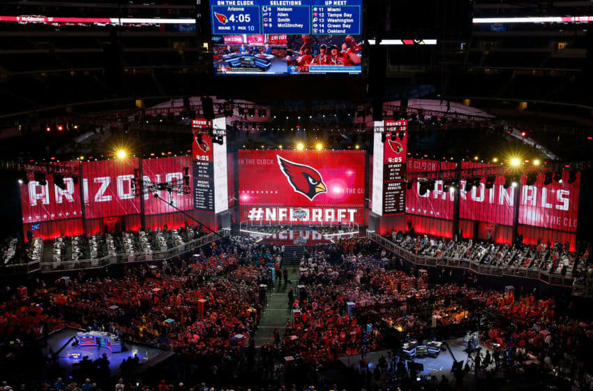 ARLINGTON, TX - APRIL 26: The Arizona Cardinals logo is seen on a video board during the first round of the 2018 NFL Draft at AT&T Stadium on April 26, 2018 in Arlington, Texas. (Photo by Tim Warner/Getty Images)