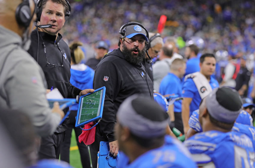 DETROIT, MI - DECEMBER 29: Detroit Lions Head Football Coach Matt Patricia talks with his defense during the third quarter of the game against the Green Bay Packers at Ford Field on December 29, 2019 in Detroit, Michigan. Green Bay defeated Detroit 23-20. (Photo by Leon Halip/Getty Images)