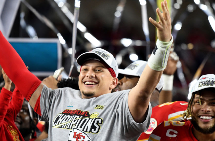 MIAMI, FLORIDA - FEBRUARY 02: Patrick Mahomes #15 of the Kansas City Chiefs celebrates after the Chiefs defeated the San Francisco 49ers in Super Bowl LIV at Hard Rock Stadium on February 02, 2020 in Miami, Florida. The Chiefs won the game 31-20. (Photo by Focus on Sport/Getty Images)
