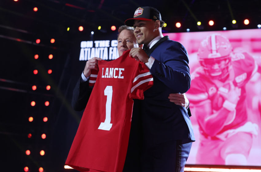 Trey Lance, San Francisco 49ers, 2021 NFL Draft. (Photo by Gregory Shamus/Getty Images)