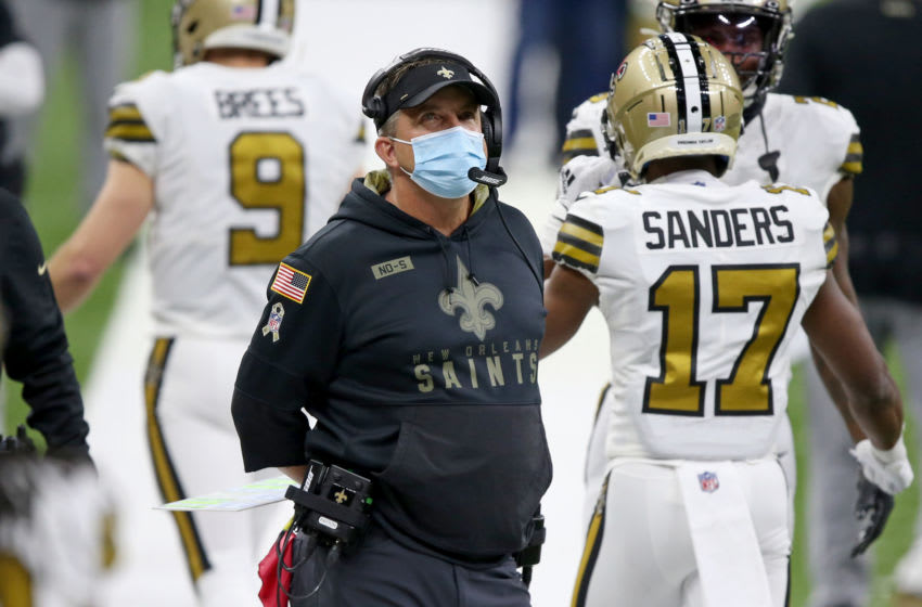 Dec 25, 2020; New Orleans, Louisiana, USA; New Orleans Saints head coach Sean Payton in the second quarter against the Minnesota Vikings at the Mercedes-Benz Superdome. Mandatory Credit: Chuck Cook-USA TODAY Sports