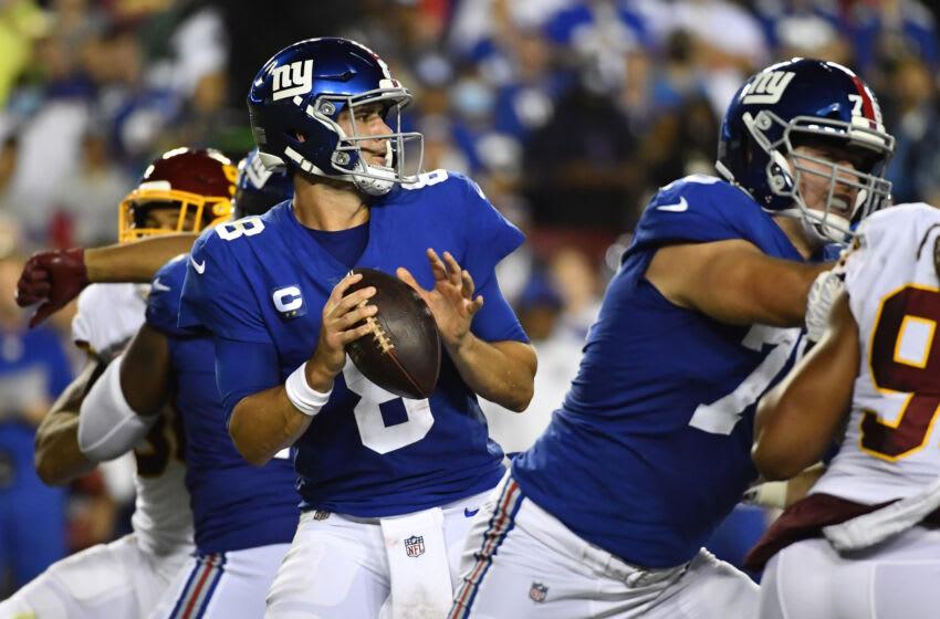 Daniel Jones, New York Giants. Mandatory Credit: Brad Mills-USA TODAY Sports