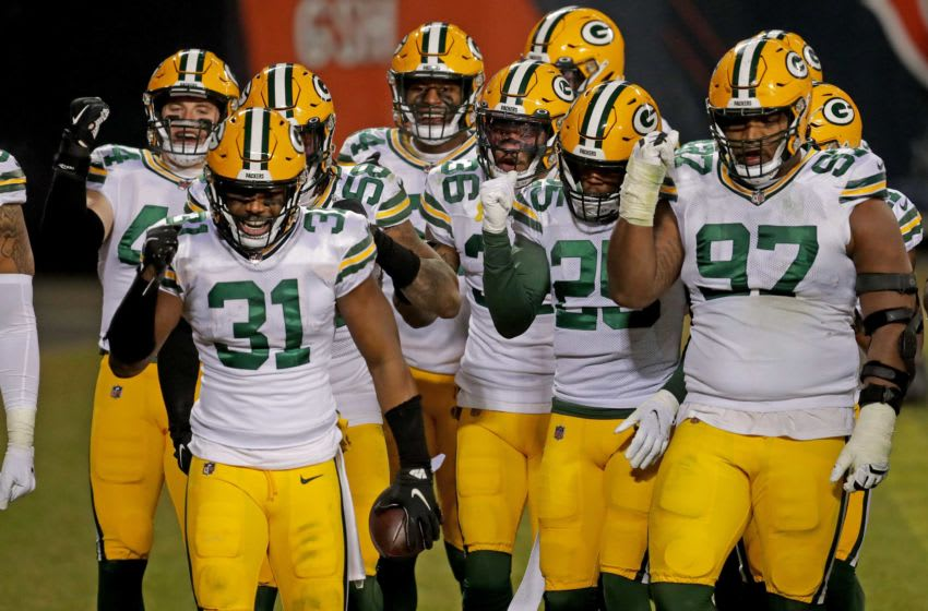Green Bay Packers strong safety Adrian Amos (31) and teammates celebrate Amos interception with a train dance during the 4th quarter of Packers 35-16 win over the Bears Sunday, Jan. 3, 2021 at Soldier Field in Chicago, Ill. - Photo by Mike De Sisti / Milwaukee Journal Sentinel via USA TODAY NETWORK Cent02 7dx1yg1nps01jt1drhj8 Original
