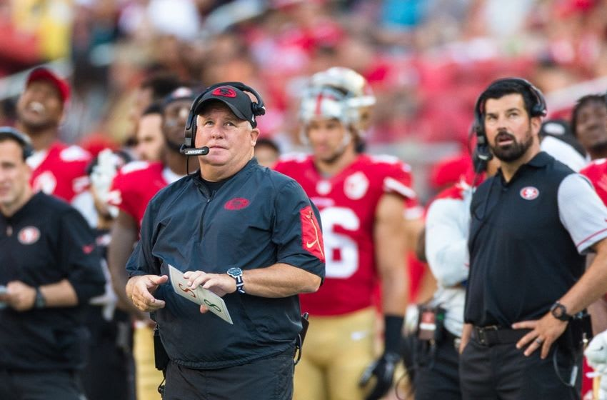 Aug 14, 2016; Santa Clara, CA, USA; San Francisco 49ers head coach Chip Kelly watches the game against the Houston Texans in the fourth quarter at Levi's Stadium. The Texans won 24-13. Mandatory Credit: John Hefti-USA TODAY Sports