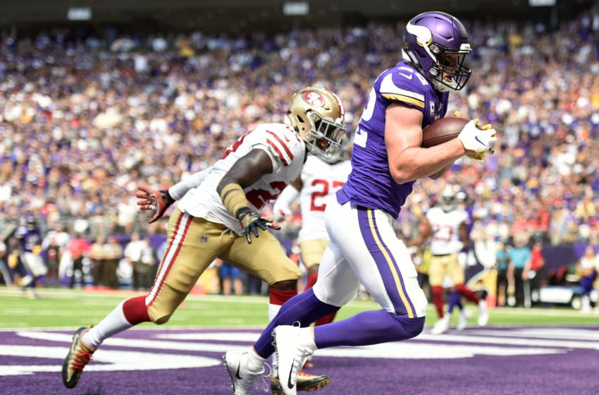 MINNEAPOLIS, MN - SEPTEMBER 09: Kyle Rudolph #82 of the Minnesota Vikings catches the ball in the end zone for a touchdown over defender Jaquiski Tartt #29 of the San Francisco 49ers in the third quarter of the game at U.S. Bank Stadium on September 9, 2018 in Minneapolis, Minnesota. (Photo by Hannah Foslien/Getty Images)