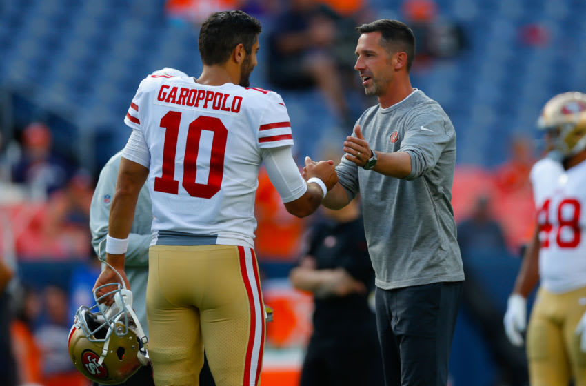 Quarterback Jimmy Garoppolo #10 and head coach Kyle Shanahan of the San Francisco 49ers (Photo by Justin Edmonds/Getty Images)