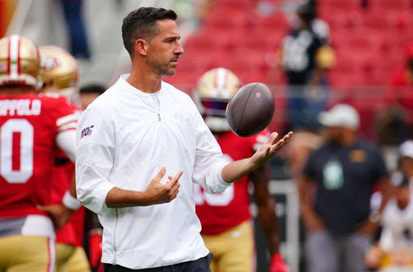 SANTA CLARA, CALIFORNIA - SEPTEMBER 22: Head coach Kyle Shanahan of the San Francisco 49ers looks on during warm ups prior to the game against the Pittsburgh Steelers at Levi's Stadium on September 22, 2019 in Santa Clara, California. (Photo by Daniel Shirey/Getty Images)