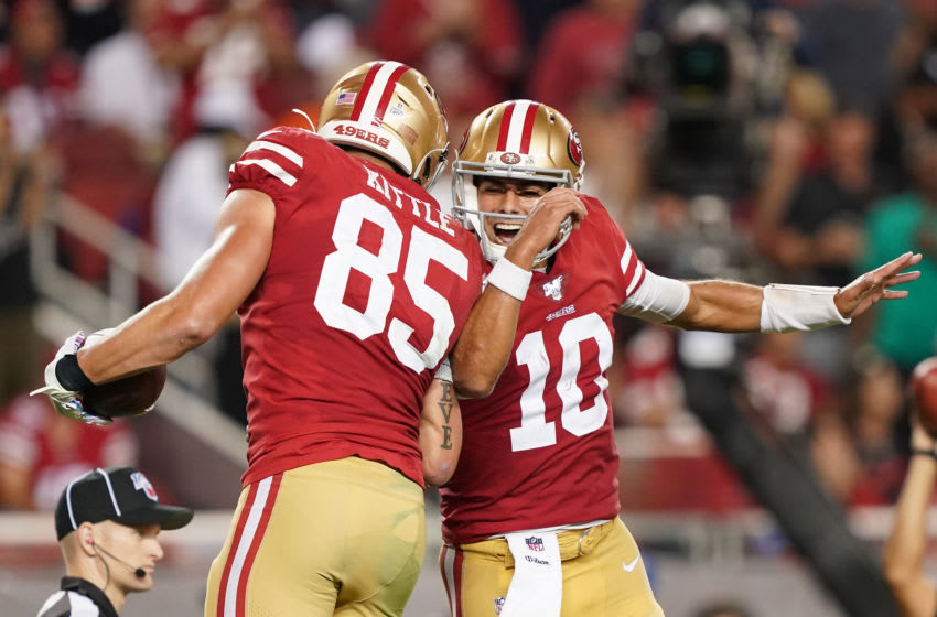 SANTA CLARA, CALIFORNIA - OCTOBER 07: George Kittle #85 and Jimmy Garoppolo #10 of the San Francisco 49ers celebrate after Kittle caught a touchdown pass against the Cleveland Browns during the third quarter of an NFL football game at Levi's Stadium on October 07, 2019 in Santa Clara, California. The 49ers won the game 31-3. (Photo by Thearon W. Henderson/Getty Images)