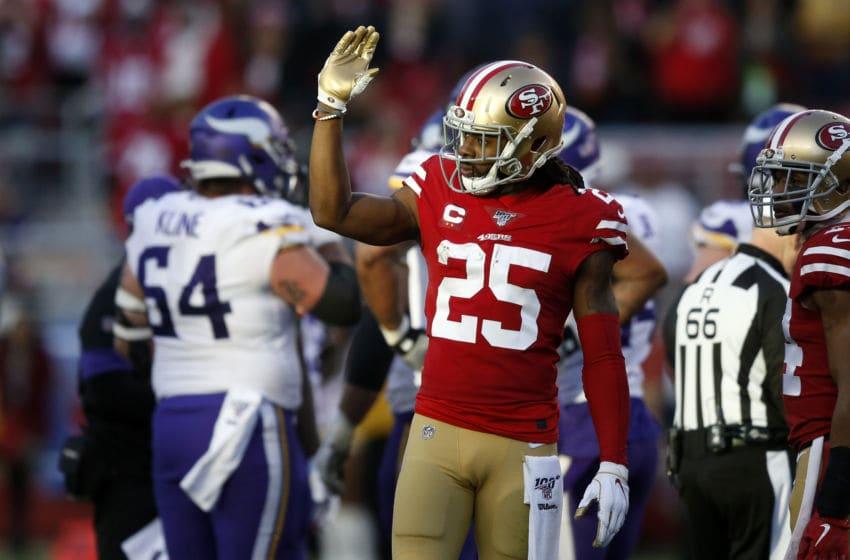 SANTA CLARA, CALIFORNIA - JANUARY 11: Richard Sherman #25 of the San Francisco 49ers reacts after a play during the NFC Divisional Round Playoff game against the Minnesota Vikings at Levi's Stadium on January 11, 2020 in Santa Clara, California. (Photo by Lachlan Cunningham/Getty Images)
