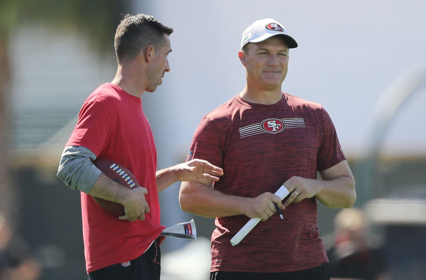 Head coach Kyle Shanahan of the San Francisco 49ers and general manager John Lynch (Photo by Michael Reaves/Getty Images)