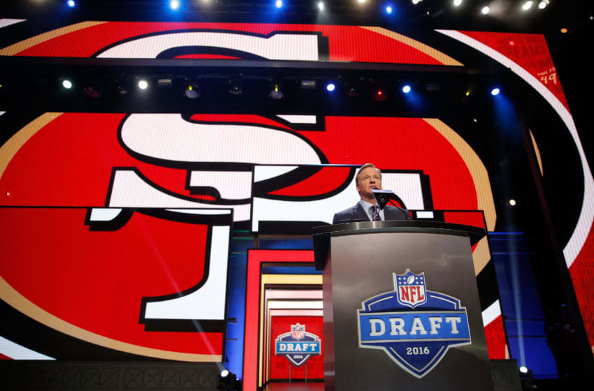 Commissioner Roger Goodell names a pick by the San Francisco 49ers during the 2016 NFL Draft (Photo by Jon Durr/Getty Images)