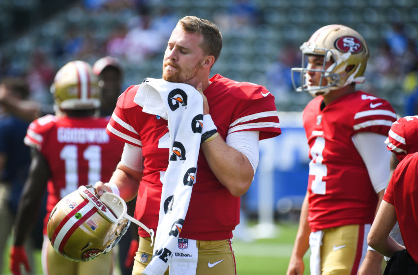 CARSON, CA - SEPTEMBER 30: Quarterback C.J. Beathard #3 of the San Francisco 49ers warms up ahead of the game against the Los Angeles Chargers at StubHub Center on September 30, 2018 in Carson, California. (Photo by Jayne Kamin-Oncea/Getty Images)