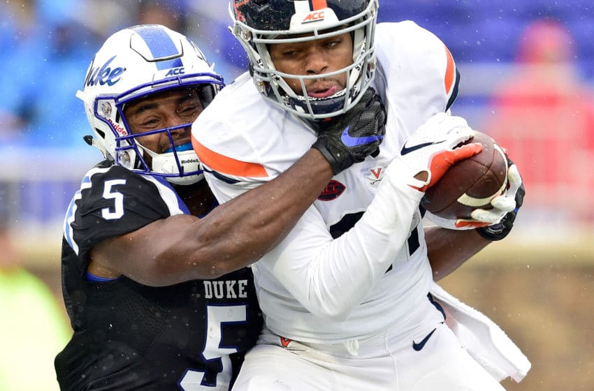 DURHAM, NC - OCTOBER 20: Juan Thornhill #21 of the Virginia Cavaliers inbtercepts a pass intended for Johnathan Lloyd #5 of the Duke Blue Devils during their game at Wallace Wade Stadium on October 20, 2018 in Durham, North Carolina. (Photo by Grant Halverson/Getty Images)