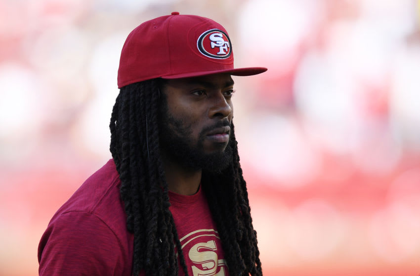 SANTA CLARA, CA - OCTOBER 21: Richard Sherman #25 of the San Francisco 49ers looks on from the sidelines against the Los Angeles Rams during their NFL game at Levi's Stadium on October 21, 2018 in Santa Clara, California. (Photo by Thearon W. Henderson/Getty Images)