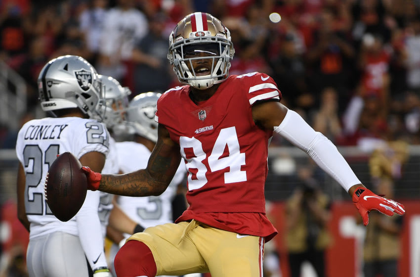 SANTA CLARA, CA - NOVEMBER 01: Kendrick Bourne #84 of the San Francisco 49ers celebrates after a four-yard touchdown against the Oakland Raiders during their NFL game at Levi's Stadium on November 1, 2018 in Santa Clara, California. (Photo by Thearon W. Henderson/Getty Images)