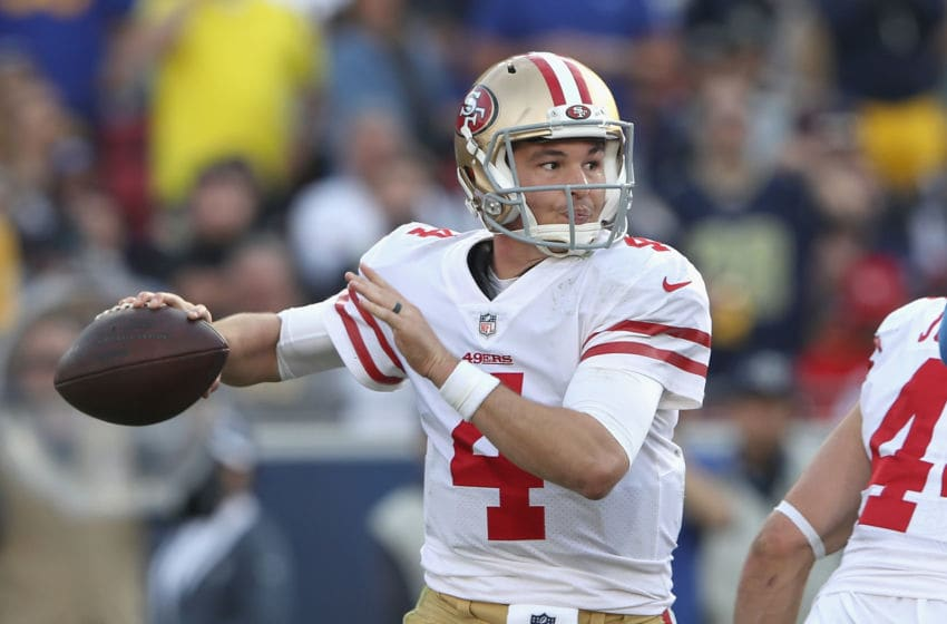 LOS ANGELES, CA - DECEMBER 30: San Francisco 49ers quarterback Nick Mullens #4 looks to pass during the first half of a game against the Los Angeles Rams at Los Angeles Memorial Coliseum on December 30, 2018 in Los Angeles, California. (Photo by Sean M. Haffey/Getty Images)