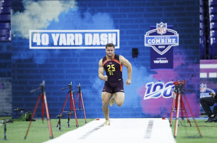 INDIANAPOLIS, IN - MARCH 03: Defensive lineman Nick Bosa of Ohio State runs the 40-yard dash during day four of the NFL Combine at Lucas Oil Stadium on March 3, 2019 in Indianapolis, Indiana. (Photo by Joe Robbins/Getty Images)