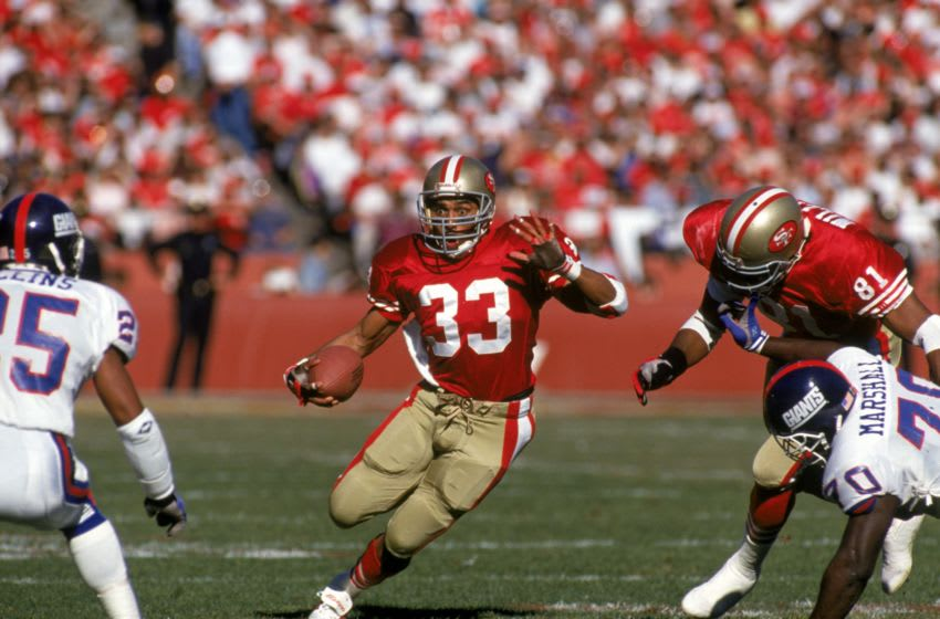 Running back Roger Craig #33 of the San Francisco 49ers (Photo by George Rose/Getty Images)