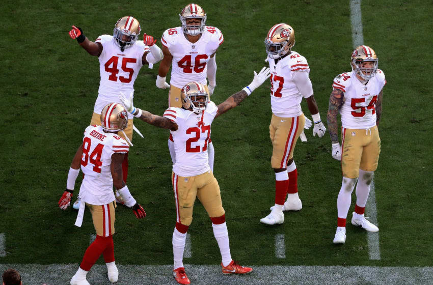 LOS ANGELES, CA - DECEMBER 31: Kendrick Bourne #84, Dexter McCoil #27, Cassius Marsh #54, Tyvis Powell #45 Mark Nzeocha #46 and Elijah Lee #47 of the San Francisco 49ers celebrate during the second half of a game against the Los Angeles Rams at Los Angeles Memorial Coliseum on December 31, 2017 in Los Angeles, California. (Photo by Sean M. Haffey/Getty Images)