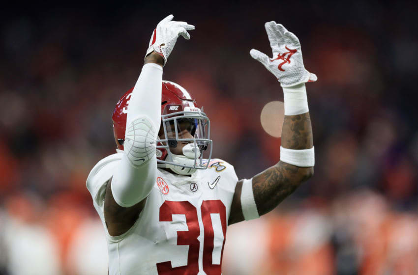 NEW ORLEANS, LA - JANUARY 01: Mack Wilson #30 of the Alabama Crimson Tide reacts in the first quarter of the AllState Sugar Bowl against the Clemson Tigers at the Mercedes-Benz Superdome on January 1, 2018 in New Orleans, Louisiana. (Photo by Ronald Martinez/Getty Images)