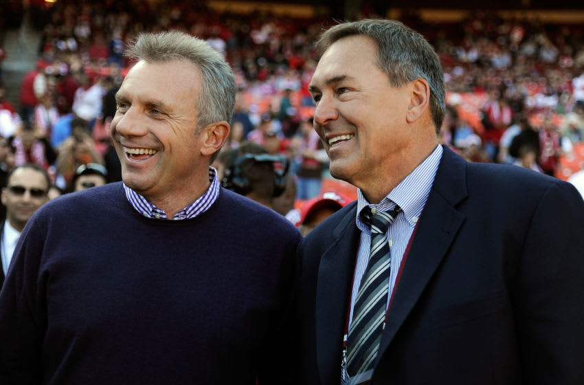 Joe Montana, Dwight Clark, San Francisco 49ers. (Photo by Thearon W. Henderson/Getty Images)