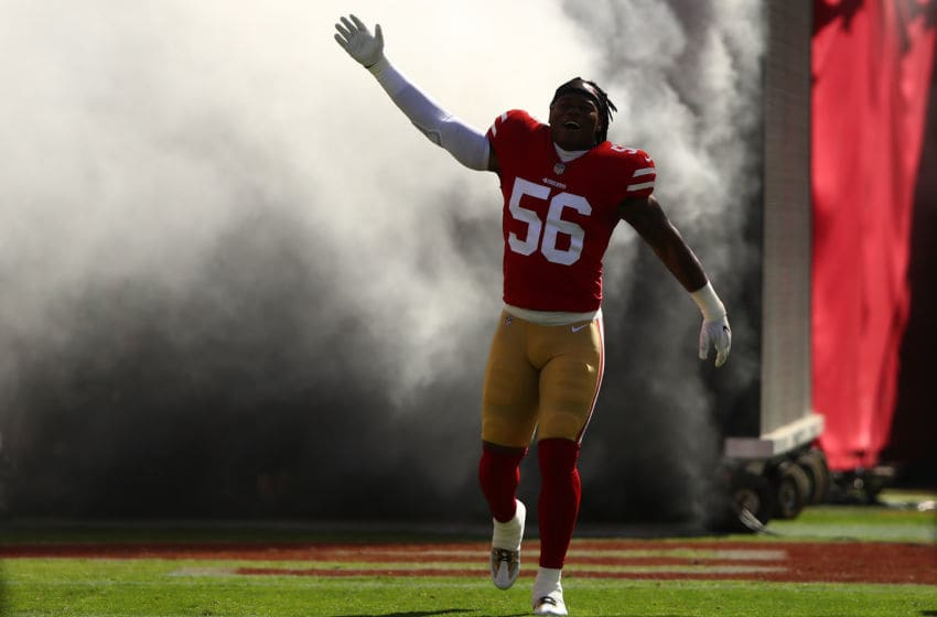 SANTA CLARA, CA - OCTOBER 22: Reuben Foster #56 of the San Francisco 49ers takes the field prior to their NFL game against the Dallas Cowboys at Levi's Stadium on October 22, 2017 in Santa Clara, California. (Photo by Ezra Shaw/Getty Images)
