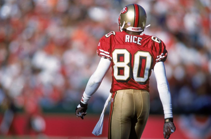 Jerry Rice #80 of the San Francisco 49ers (Mandatory Credit: Jed Jacobsohn /Allsport)