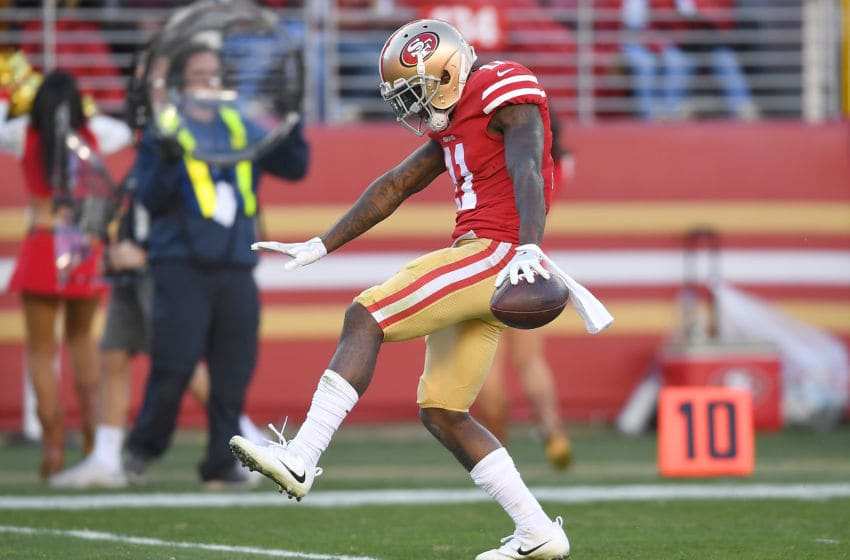 SANTA CLARA, CA - DECEMBER 17: Marquise Goodwin #11 of the San Francisco 49ers celebrates after catching a pass for a first down against the Tennessee Titans during their NFL football game at Levi's Stadium on December 17, 2017 in Santa Clara, California. (Photo by Thearon W. Henderson/Getty Images)