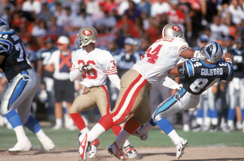 Dana Stubblefield, San Francisco 49ers. (Photo by George Rose/Getty Images)