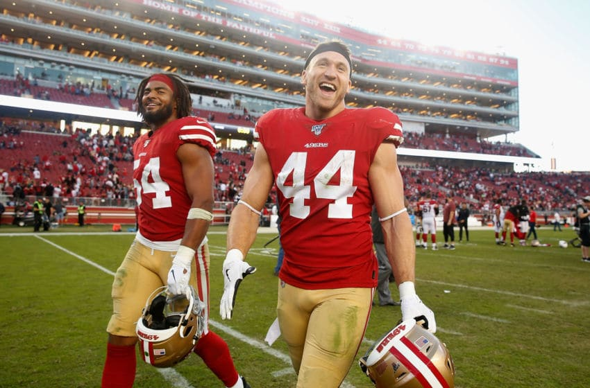 Kyle Juszczyk #44 and Fred Warner #54 of the San Francisco 49ers (Photo by Lachlan Cunningham/Getty Images)