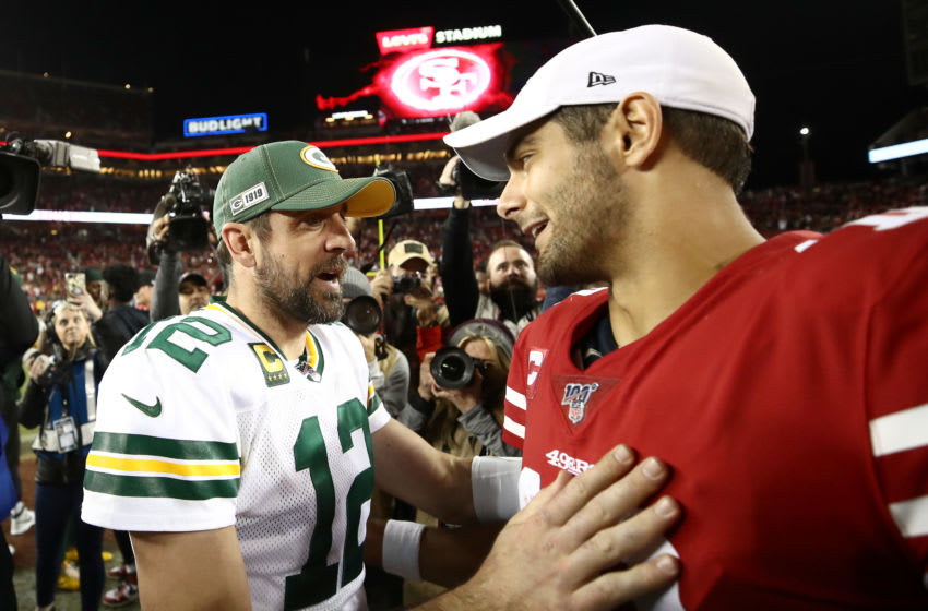 SANTA CLARA, CALIFORNIA - NOVEMBER 24: Aaron Rodgers #12 of the Green Bay Packers shakes hands with Jimmy Garoppolo #10 of the San Francisco 49ers after their game at Levi's Stadium on November 24, 2019 in Santa Clara, California. (Photo by Ezra Shaw/Getty Images)