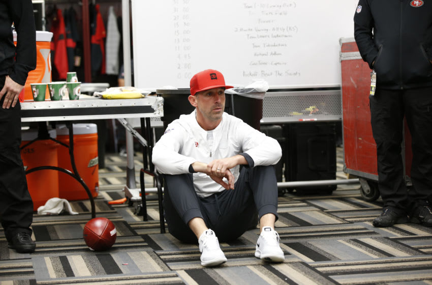 Head Coach Kyle Shanahan of the San Francisco 49ers (Photo by Michael Zagaris/San Francisco 49ers/Getty Images)