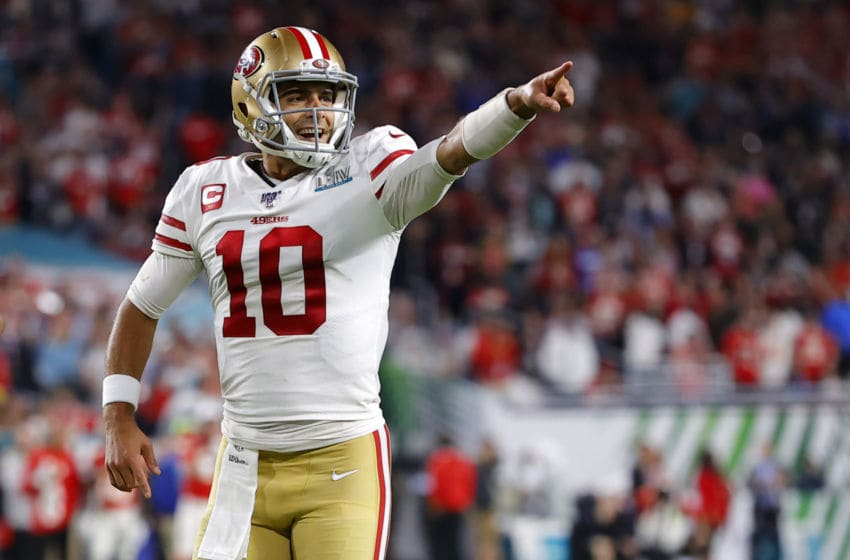 Jimmy Garoppolo #10 of the San Francisco 49ers. (Photo by Kevin C. Cox/Getty Images)