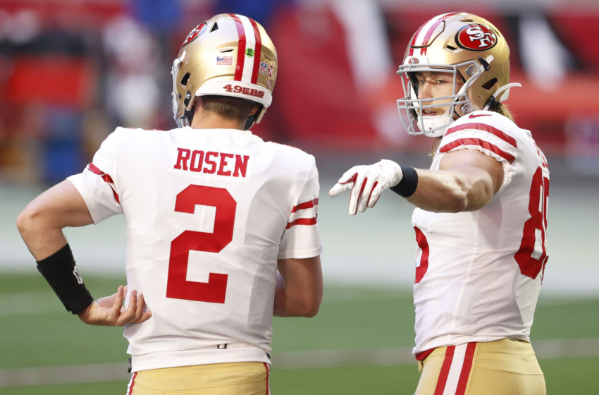 Tight end George Kittle #85 of the San Francisco 49ers talks with quarterback Josh Rosen #2 (Photo by Christian Petersen/Getty Images)