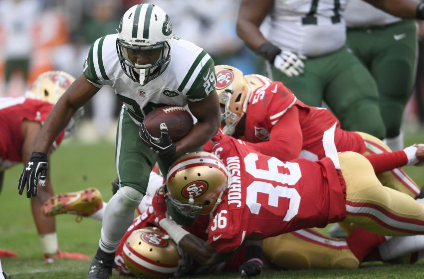 Bilal Powell #29 of the New York Jets and Dontae Johnson #36 of the San Francisco 49ers (Photo by Thearon W. Henderson/Getty Images)