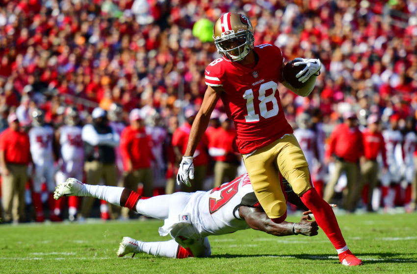 Dante Pettis #18 of the San Francisco 49ers (Photo by Julio Aguilar/Getty Images)